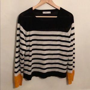 Zara knit black & white stripe with yellow cuffs